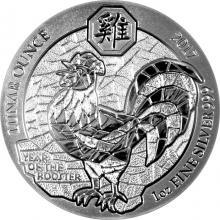 Stříbrná investiční mince Rok Kohouta Rwanda 1 Oz 2017