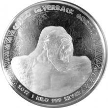 Stříbrná investiční mince Kongo Gorila 1 Kg 2017