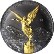 Stříbrná Ruthenium mince pozlacená Mexico Libertad 1 Oz Golden Enigma 2017 Standard