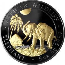 Strieborná Ruténium minca pozlátený Slon africký 5 Oz Golden Enigma 2017 Štandard