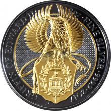 Strieborná Ruténium minca pozlátený Queen's Beasts Griffin 2 Oz Golden Enigma 2017 Proof