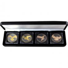 Sada strieborných Ruténium mincí pozlátená séria Birds of Prey Golden Enigma 2017 Štandard