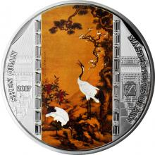 Stříbrná mince 3 Oz The Pine, Plum and Cranes - Shen Quan 2017 Krystaly Proof