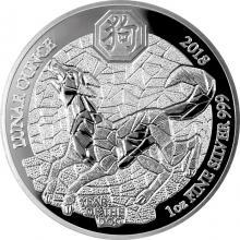 Stříbrná mince 1 Oz Rok Psa Rwanda 2018 Proof