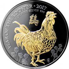 Stříbrná Ruthenium mince pozlacený Rok Kohouta 1 Oz Golden Enigma 2017 Standard