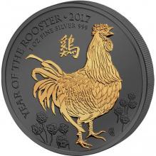 Strieborná Ruténium minca pozlátený Rok Kohúta 1 Oz Golden Enigma 2017 Štandard