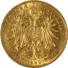 Zlatá mince Dvacetikoruna Františka Josefa I. Rakouská ražba 1899