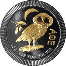 Stříbrná mince pozlacená Athénina Sova 1 Oz Golden Enigma 2017 Standard