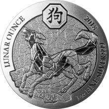 Stříbrná investiční mince Rok Psa Rwanda 1 Oz 2018