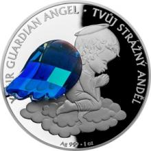 Stříbrná mince Crystal Coin - Anděl strážný 2018 Proof