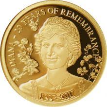 Zlatá mince princezna Diana 20. výročí 2017 Proof