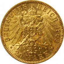 Zlatá mince 20 Marka Arnošt Ludvík Hesenský 1903