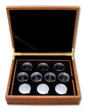Drevená krabička pre 10 x 2 Oz Ag mince série The Queen 's Beasts svetlá