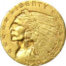 Zlatá mince Indian Head American Quarter Eagle 1910