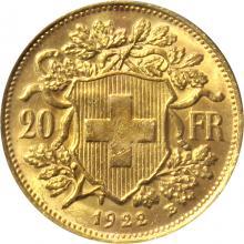 Zlatá mince 20 Frank Helvetia - Vreneli 1922