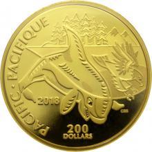 Zlatá minca Pacific - kanadská pobrežie 2018 Proof