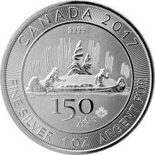Stříbrná investiční mince Voyageur 1 Oz 150 let Kanady 2017