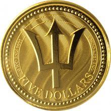 Zlatá investiční mince Trojzubec Barbadosu 1 Oz 2017
