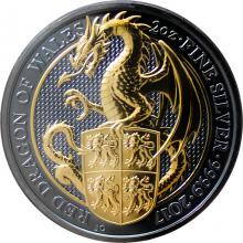 Stříbrná Ruthenium mince pozlacený Queen's Beasts Red Dragon 2 Oz Golden Enigma 2017 Proof