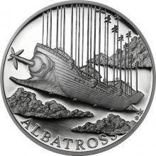 Stříbrná mince Fantastický svět Julese Verna - Vzdušná loď Albatros 2018 Proof