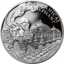 Strieborná minca Fantastický svet Julesa Verna - Oceľový parný slon 2018 Proof