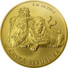 Zlatá pětiuncová investičná minca Český lev 2018 Štandard