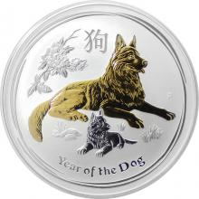 Stříbrná mince pozlacený Year of the Dog Rok Psa Lunární 1 Oz 2018 Standard