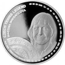 Stříbrná mince České tenisové legendy - Martina Navrátilová 2018 Proof