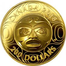 Zlatá minca maska Ancestor Moon Ultra high relief 2018 Proof (.99999)