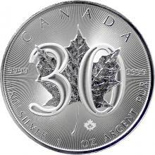 Stříbrná investiční mince Maple Leaf 1 Oz - 30. výročí 2018