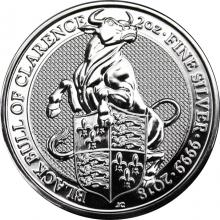 Stříbrná investiční mince The Queen's Beasts The Black Bull 2 Oz 2018