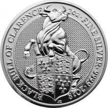 Stříbrná investiční mince The Queen´s Beasts The Black Bull 2 Oz 2018