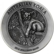 Stříbrná mince 2 Kg Koala High Relief 2018 Antique Standard