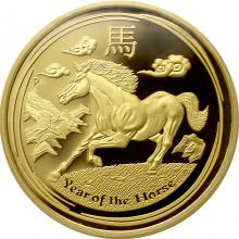 Exkluzivní Zlatá mince Year of the Horse Rok Koně 1/4 Oz 2014 Proof