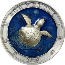 Stříbrná mince 3 Oz Podmořský svět - Mořská želva 2018 Antique Standard