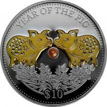 Stříbrná pozlacená mince 1 Oz Year of the Pig - Rok Vepře perla 2019 Proof