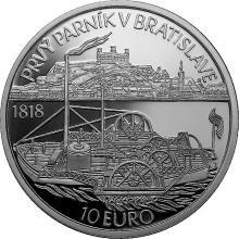 Stříbrná mince Plavba prvního parníku na Dunaji v Bratislavě - 200. výročí 2018 Proof