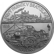 Stříbrná mince Plavba prvního parníku na Dunaji v Bratislavě - 200. výročí 2018 Standard