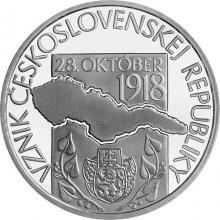Strieborná minca Vznik Československej republiky – 100. výročie 2018 Proof