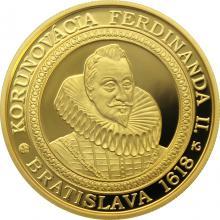 Zlatá mince Bratislavské korunovace - 400. výročí korunovace Ferdinanda II. 2018 Proof