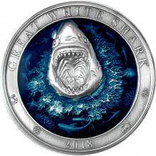 Stříbrná mince 3 Oz Podmořský svět - Žralok bílý 2018 Antique Standard