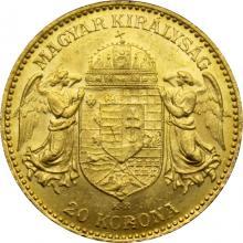 Zlatá minca 20 Korún Františka Jozefa I. Uhorská razba 1902