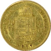 Zlatá mince Čtyřzlatník Františka Josefa I. 10 Franků 4 Forinty 1877