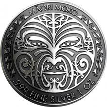 Stříbrná pokovená mince Maori Moko 1 Oz 2017 Proof