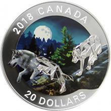 Stříbrná mince Vlk šedý 1 Oz Geometric Fauna 2018 Proof