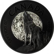 Stříbrná pokovená mince Vyjící vlk 1 Oz Nocturnal by Nature 2018 Proof