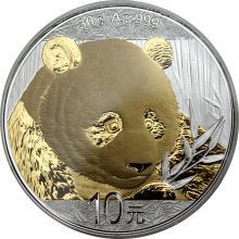 Strieborná minca pozlátená Panda 30 g Standard