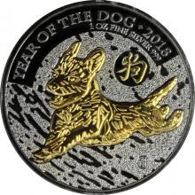 Stříbrná Ruthenium mince pozlacený Rok Psa Lunární The Royal Mint 1 Oz Golden Enigma 2018