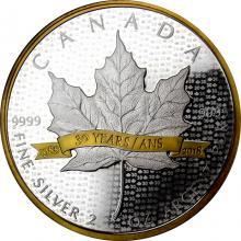 Strieborná minca pozlátený Maple Leaf 2 Oz - 30. výročie 2018 Proof