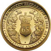 Zlatá mince 65. výročí korunovace Alžběty II. 1/4 Oz 2018 Proof